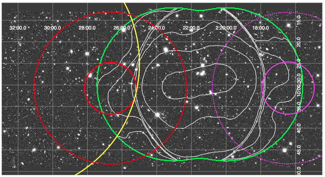 Proposed Pointing Of STUDIES Red Circles The Large Yellow Circle Indicates Primary Beam Ultra Deep Rms 05 Jy VLA S Band Survey PI J