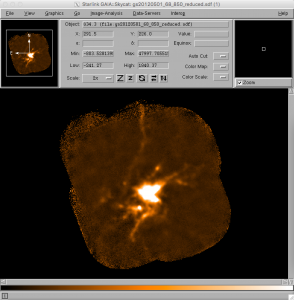 Simple Gaia imaging of the pipeline-reduced map of G34.3+0.2.
