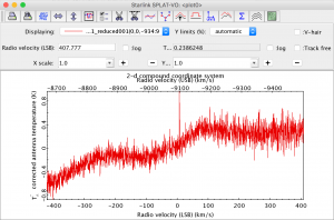 A spectrum from the heterodyne tutorial dataset displayed in SPLAT.