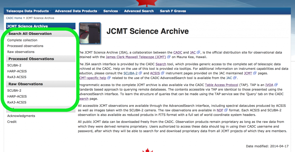 JCMT landing page at CADC